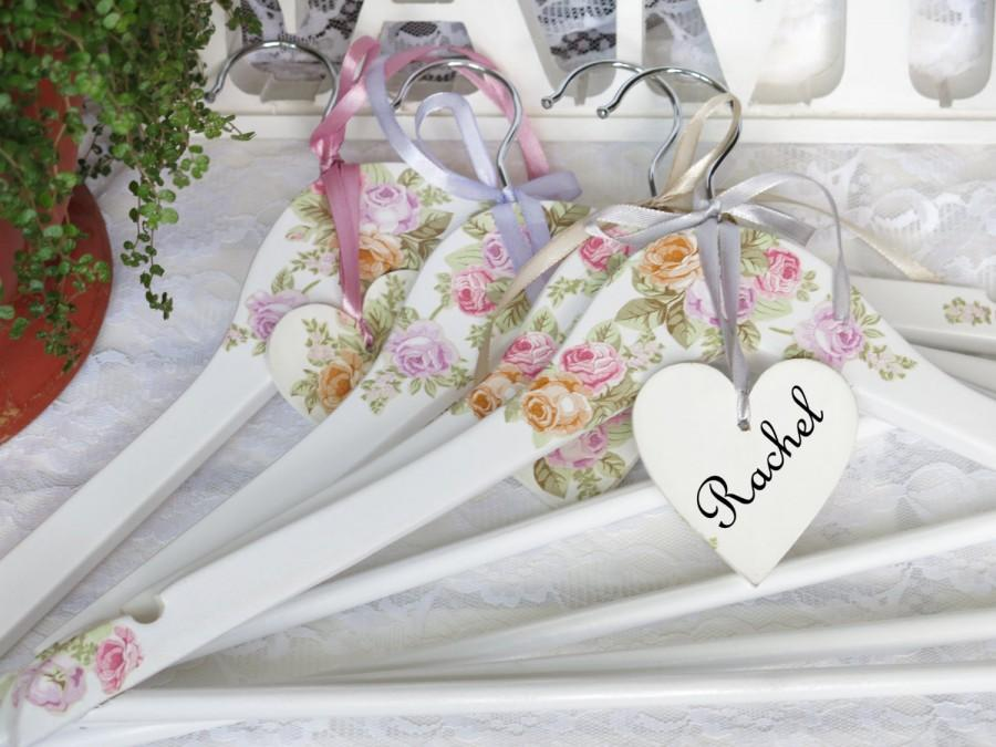 Wedding Dress Hanger Wooden Hangers Set Of 4 Personalized Accessory Gift Fl Party Summer Roses Decor