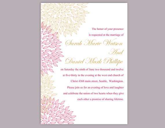 Mariage - DIY Wedding Invitation Template Editable Word File Instant Download Printable Floral Invitation Pink Wedding Invitation Gold Invitations