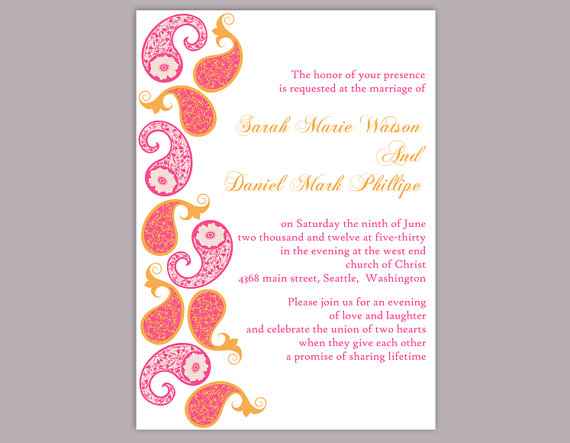 Diy bollywood wedding invitation template editable word file diy bollywood wedding invitation template editable word file download printable orange pink invitation indian invitation bollywood party stopboris Image collections