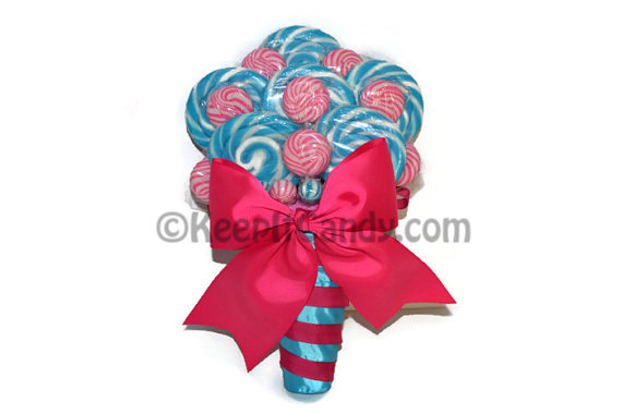Mariage - Fuschia and Turquoise Lollipop Bridal Bouquet, Candy Bouquet, Wedding Bouquet, Bridal Bouquet, Bouquet, Wedding, Rehearsal Bouquet, Pink