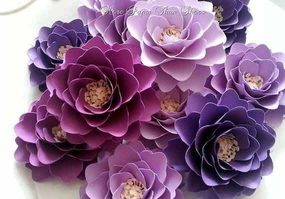 Paper flowers weddings birthdays elizabeth rose shades of paper flowers weddings birthdays elizabeth rose shades of purple any color set of 25 made to order mightylinksfo