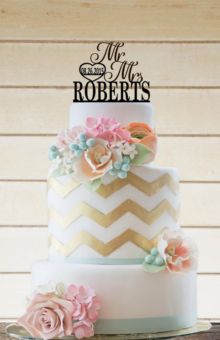 Свадьба - Wedding Cake Topper Wedding Decor Personalized Cake Topper