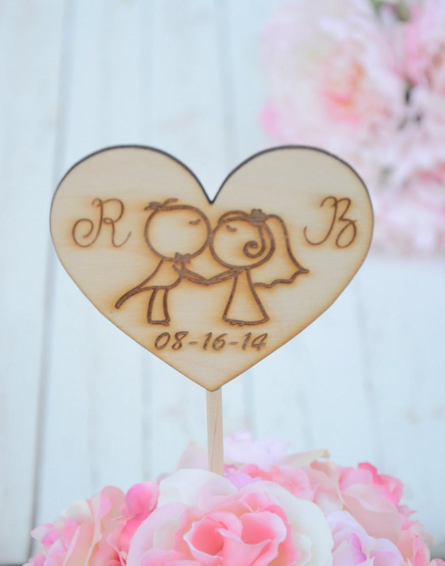 Свадьба - Personalized heart shaped rustic wedding cake topper
