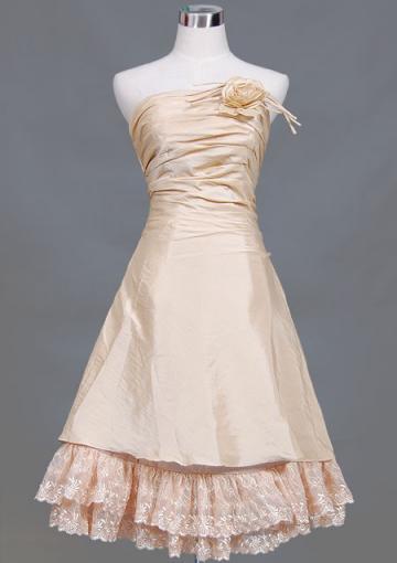 Wedding - Sleeveless Zipper Lace Flower Strapless Short Length