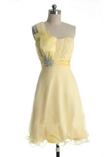 Boda - Sleeveless Yellow Chiffon Crystals One Shoulder Short Length