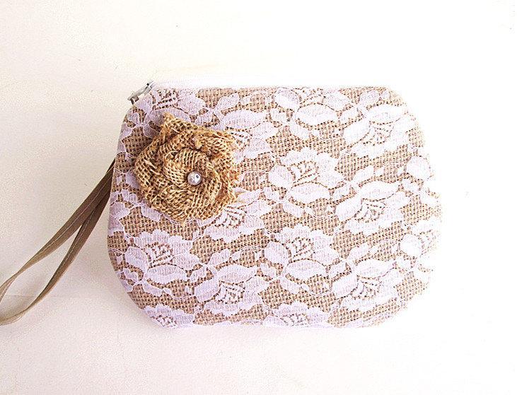 Mariage - Burlap wristlet burlap clutch purse bridal clutch bridesmaid clutch- Flower Lace .
