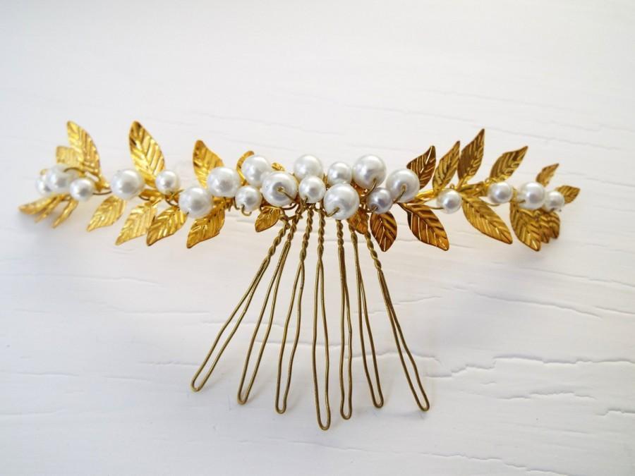 Gold Leaf Hair Comb Pearl Wedding Accessories Greek Goddess Flower Crown White Wreath
