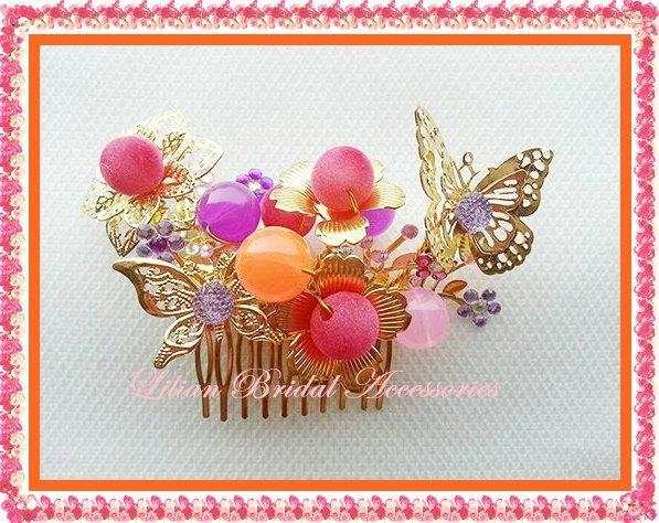 Mariage - Birthday quinceanera~Asian wedding~fascinator wedding~qipao hairpiece~wedding cheongsam~wedding tiara~multicolour Chinese style wedding comb