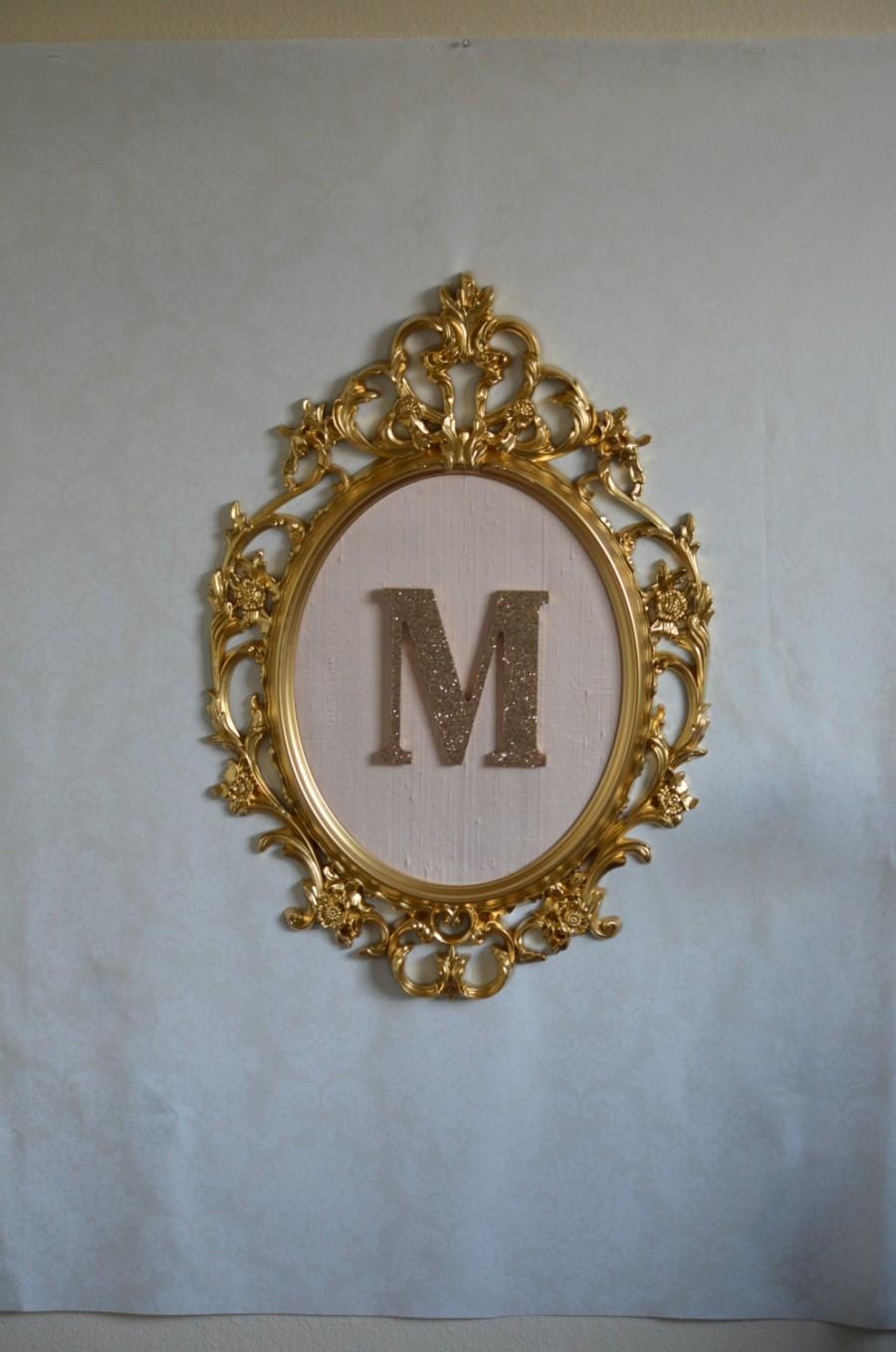Large Oval Framed Letter Gold Baroque Frame Blush Pink Silk