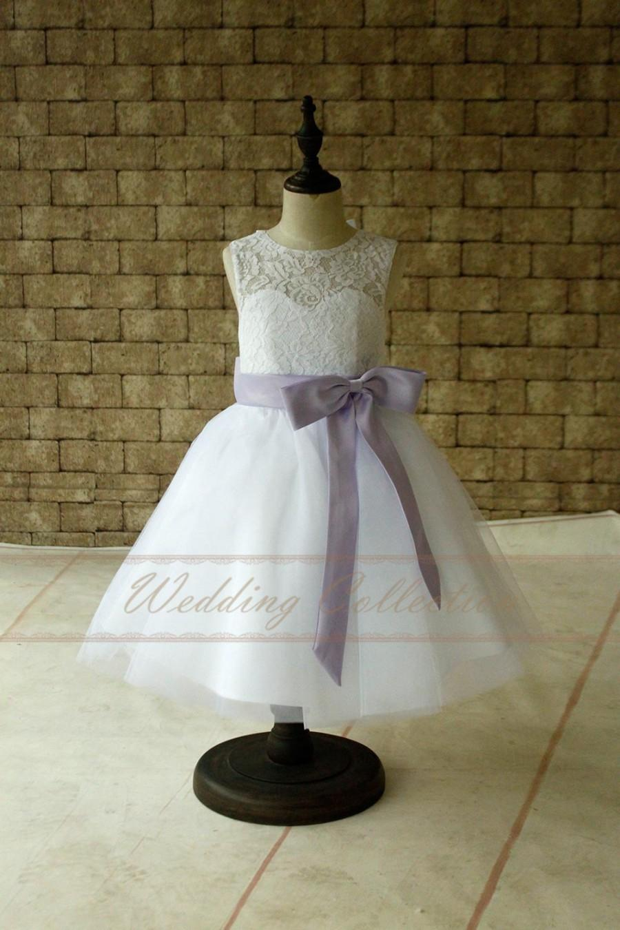 Düğün - Pure White Lace Flower Girl Dresses, Tulle Flower Girls Dress With Lavender Sash and Bow