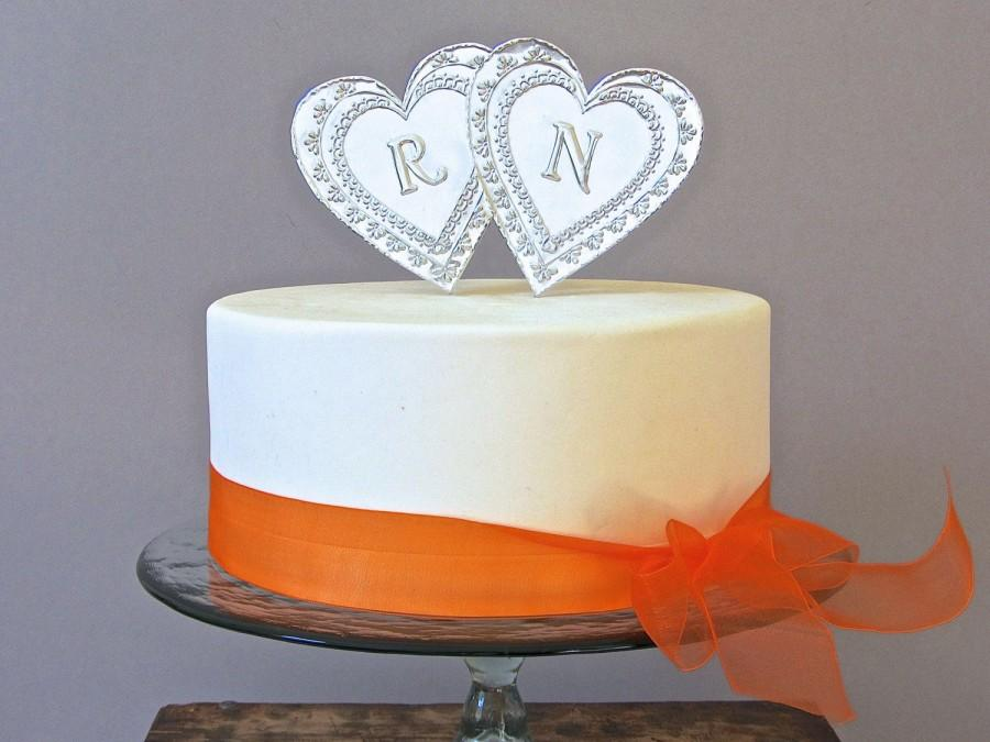 silver monogram wedding cake topper two hearts custom