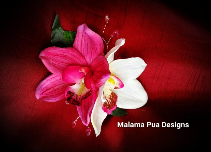 Mariage - TROPICAL FLOWER CLIP - Hawaiian Orchids, Bridal Flowers, Beach Bride, Fascinator, Flower Headpiece, Prom, Wedding Hair Accessory,  Hair Clip