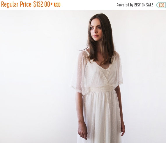 Mariage - Ivory Chiffon dots sheer gown, Bridal ivory dress with bat wings sleeves, Boho style wedding dress