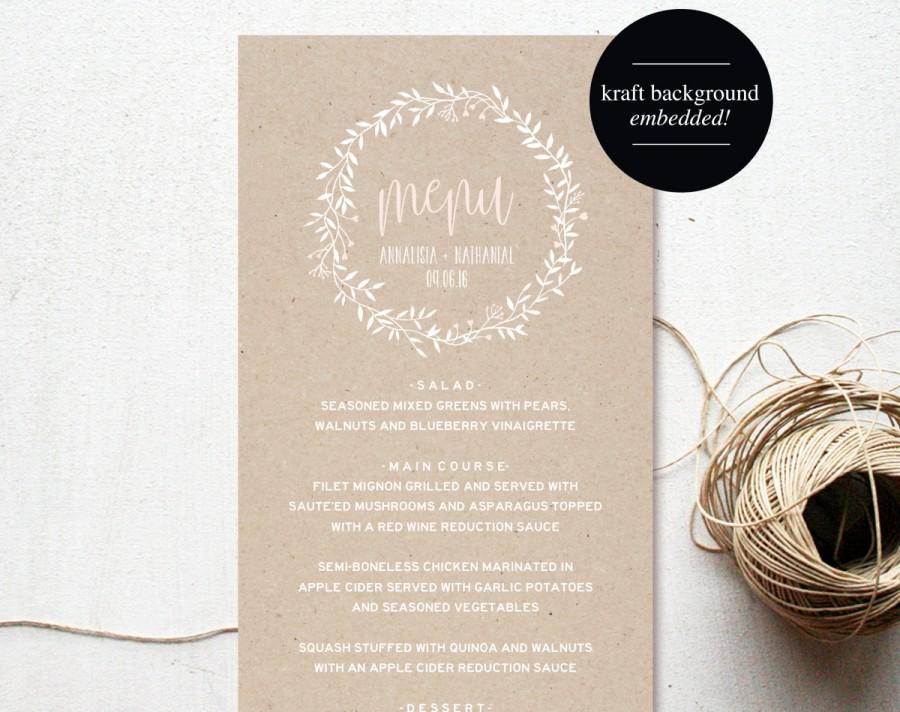 Wedding Menu Template Menu Cards Blush Pink Blush Wedding Menu