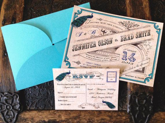 Hochzeit - Vintage Peacock wedding invitation/Romantic wedding / Hollywood Regency / vintage elegant Wedding invites professionally printed