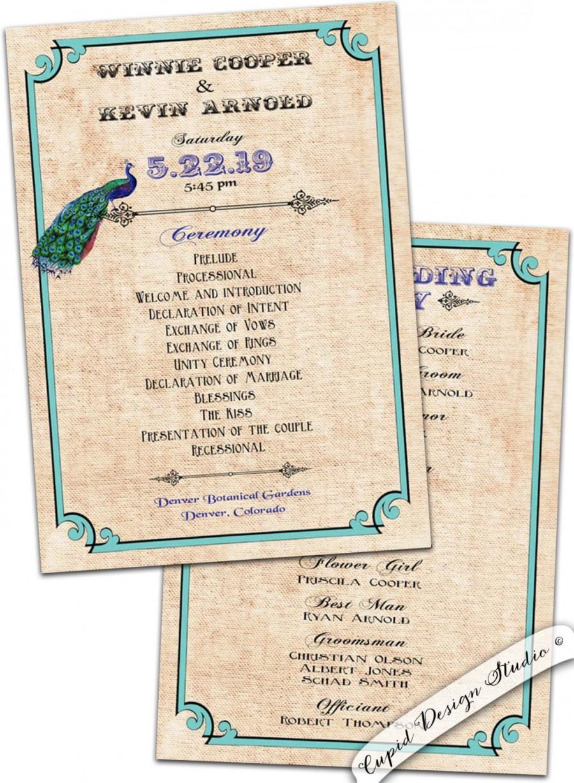 Wedding - Peacock wedding program. Elegant wedding program. Vintage wedding program. Personalized wedding program. Teal wedding program. Weddings.