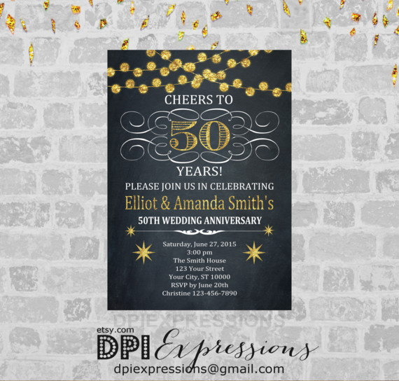 Golden Wedding Anniversary Invitation Printable 50th Anniversary