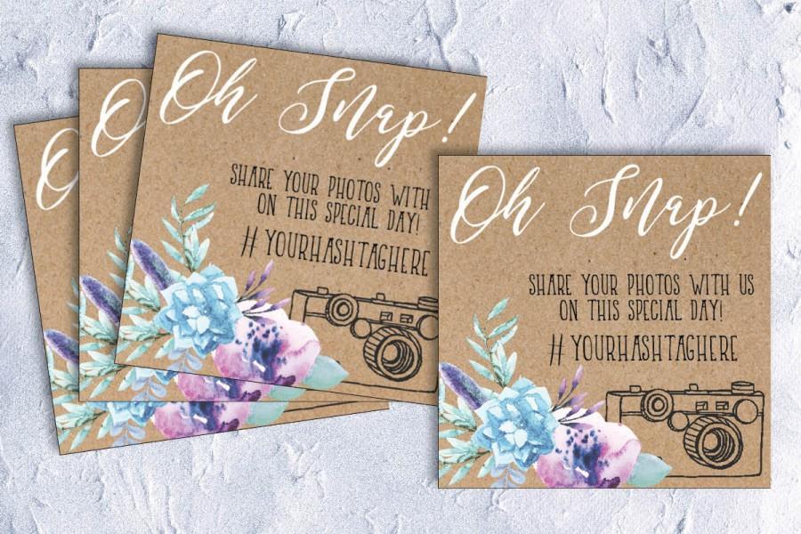 Wedding Hashtag Card Table Card Wedding Hashtag Photo Card