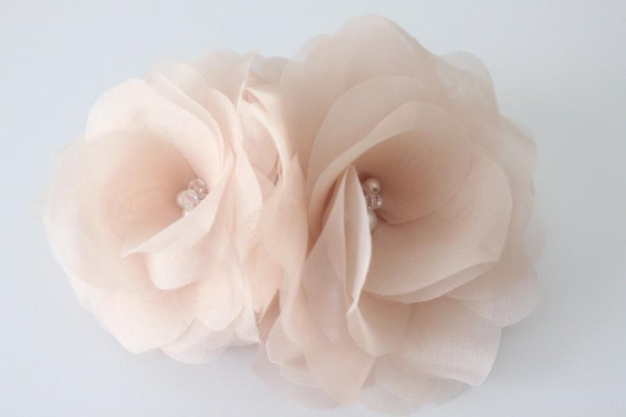 Double Silk Hair Flower Bridal Hair Flower Birdcage Fascinator