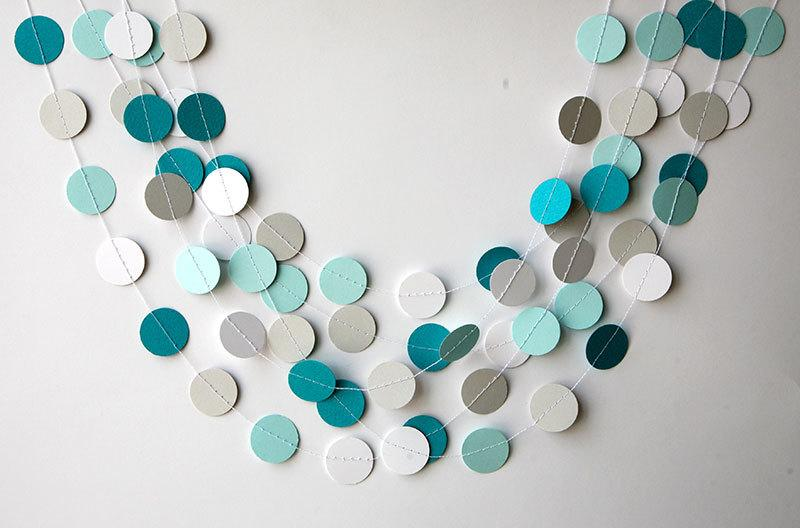 Teal White Aqua And Gray Paper Garland Wedding Decoration Bridal Shower Birthday Party Decor K C 0061