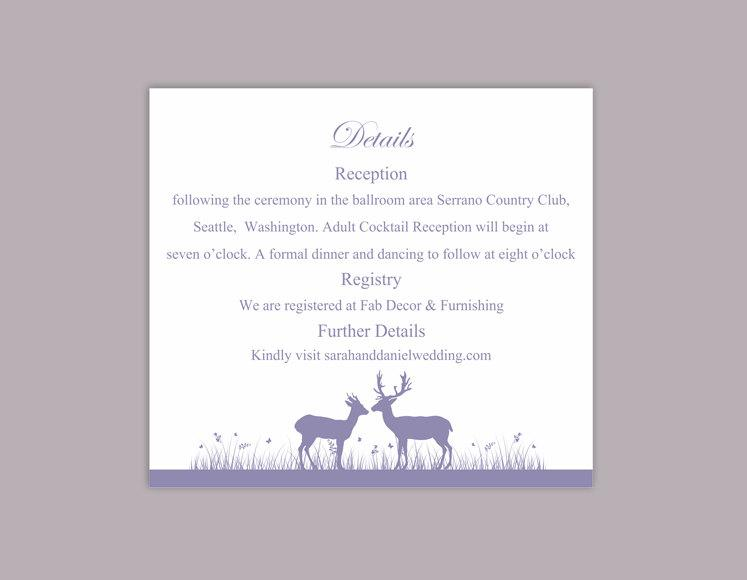 Wedding - DIY Wedding Details Card Template Editable Word File Instant Download Printable Details Card Lavender Purple Details Card Information Cards - $8.00 USD