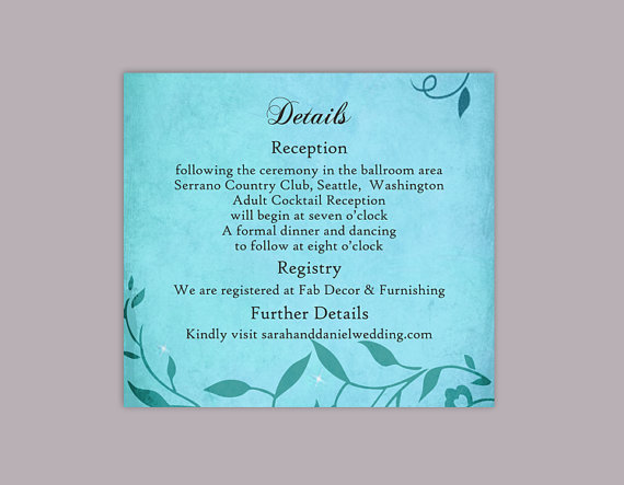 Mariage - DIY Rustic Wedding Details Card Template Editable Word File Download Printable Vintage Turquoise Blue Details Card Leaf Enclosure Card