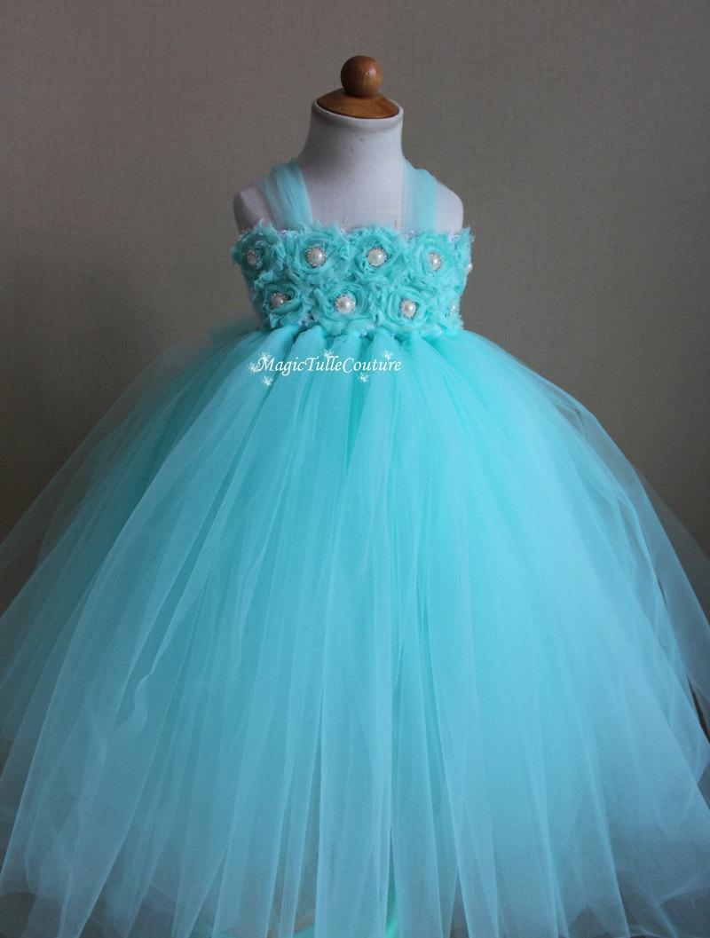 Aqua Mint Blue Flower Girl Tutu Dress Birthday Party Dress Toddler ...