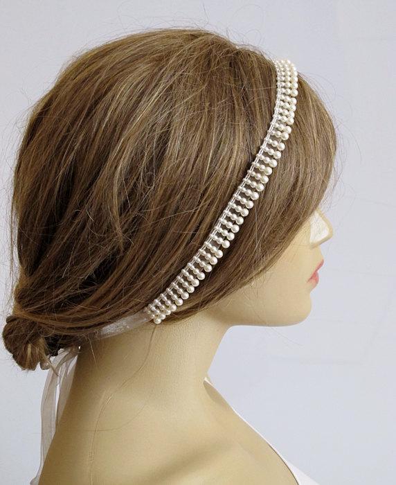 Mariage - Wedding Headband hairband Bridal wedding accessory hair band Accessories Women accessory Bridesmaids weddings jewelry bride