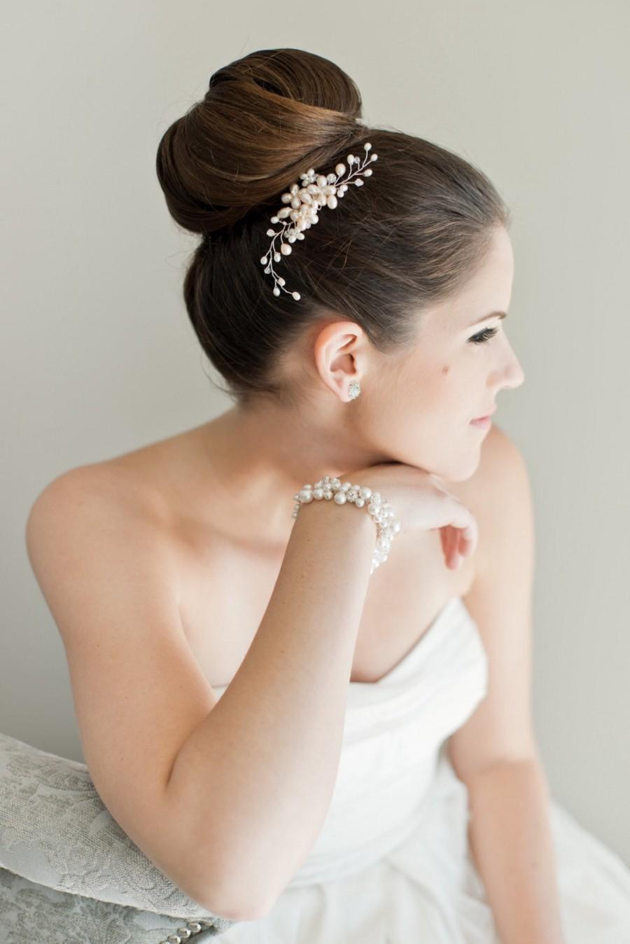 Mariage - Bridal Hair Comb, Bridal Hairpiece, Freshwater Pearl Hairpiece, Bridal Hair Comb, Bridal Head Piece