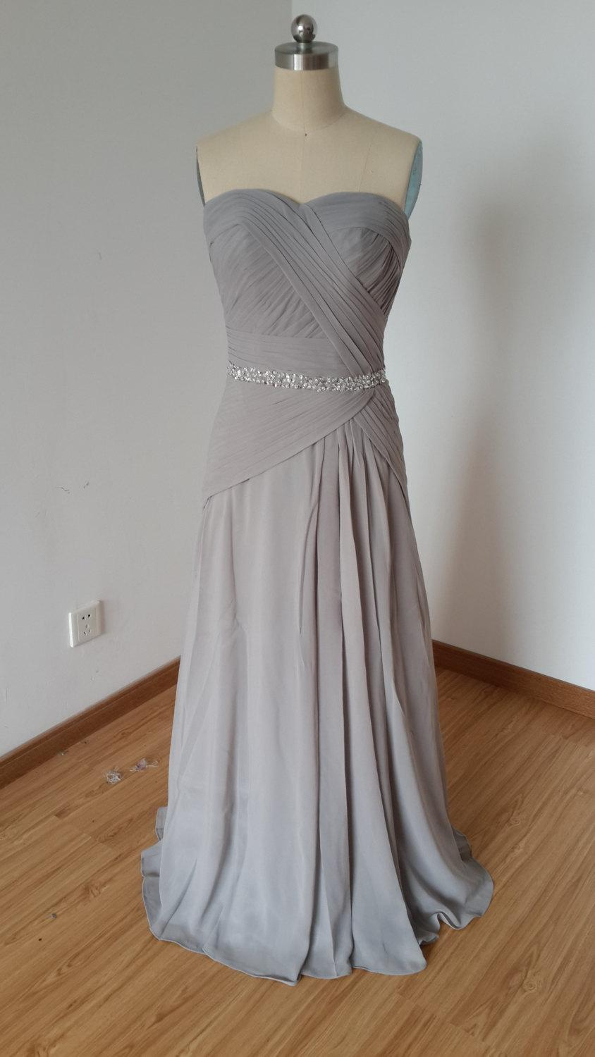 Wedding - 2015 Sweetheart Light Grey Chiffon Long Bridesmaid Dress with Beaded Waistline