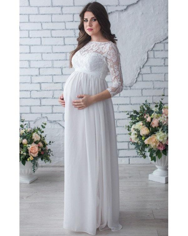Lace maternity dress photo shoot white chiffon dress for Pregnancy dress for wedding