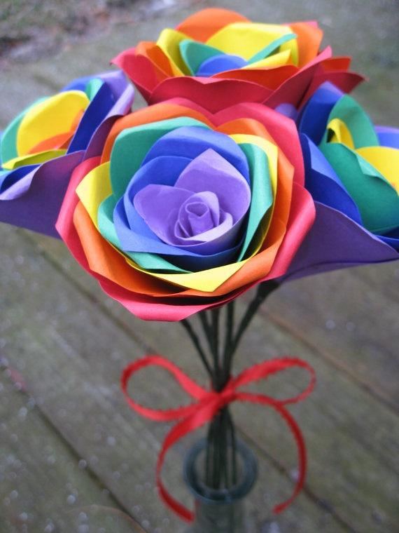 Rainbow Roses, Half A Dozen. Red, Orange, Yellow, Green, Blue ...