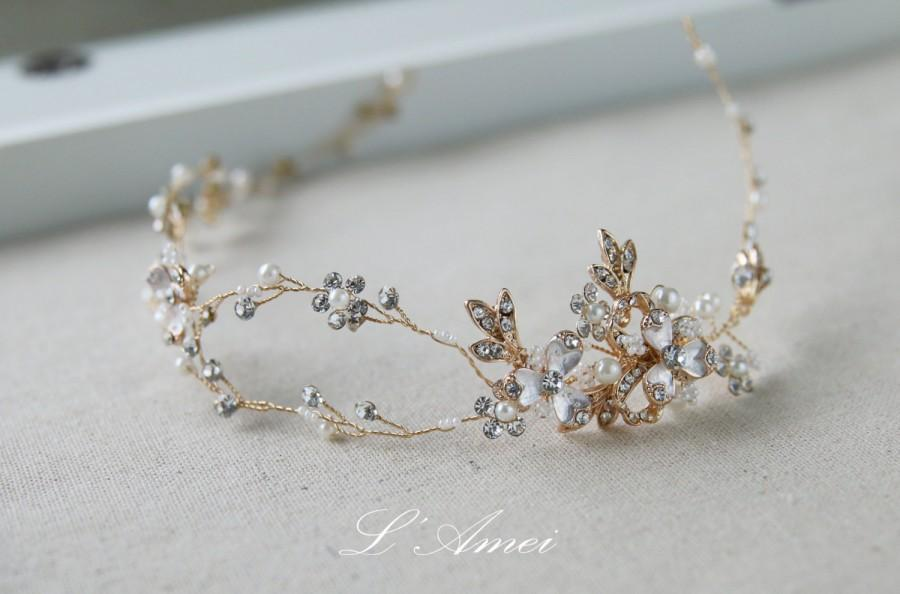 Mariage - Golden Goddess Wedding Crown Circlet Wreath with Golden Leaves and small flowers