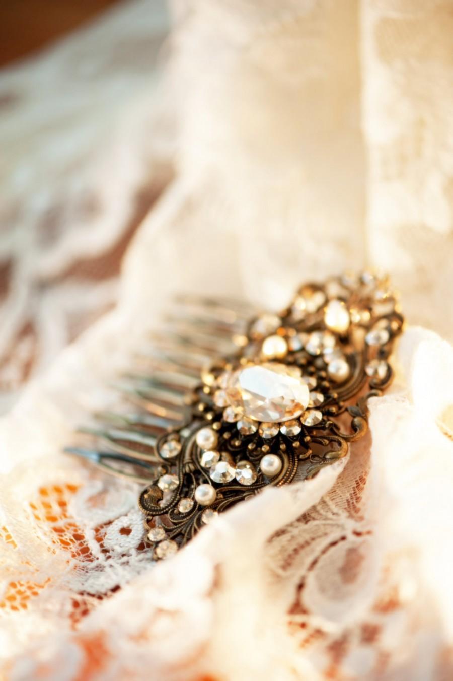 Mariage - Bridal hair comb, Antique gold hair comb, Wedding headpiece, Bridal hair clip, Swarovski golden shadow, Wedding hair accessory, Vintage comb