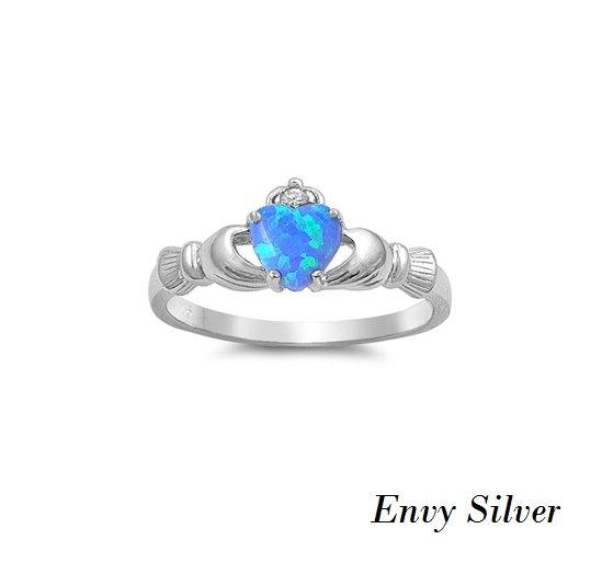 Wedding - Irish Claddagh Ring 925 Sterling Silver Blue Lab Opal & Clear CZ Heart Promise Ring
