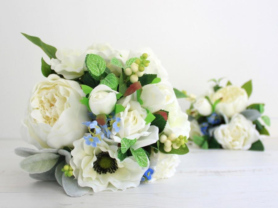 Mariage - White Silk Peony Bridal Bouquet