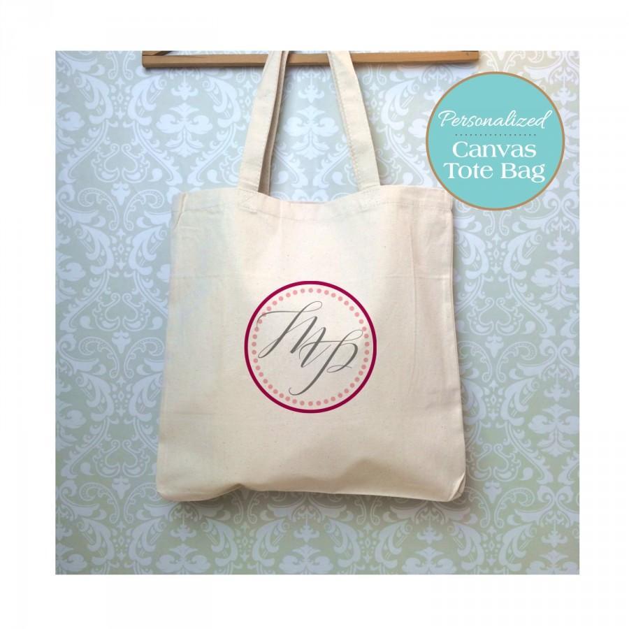 زفاف - Qty 8-Printed Calligraphy Monogram Tote Bag, Wedding Tote Bag, Bridesmaid Tote Bag, Bridesmaid Bag,Bridesmaid Gift, Wedding Party Gift