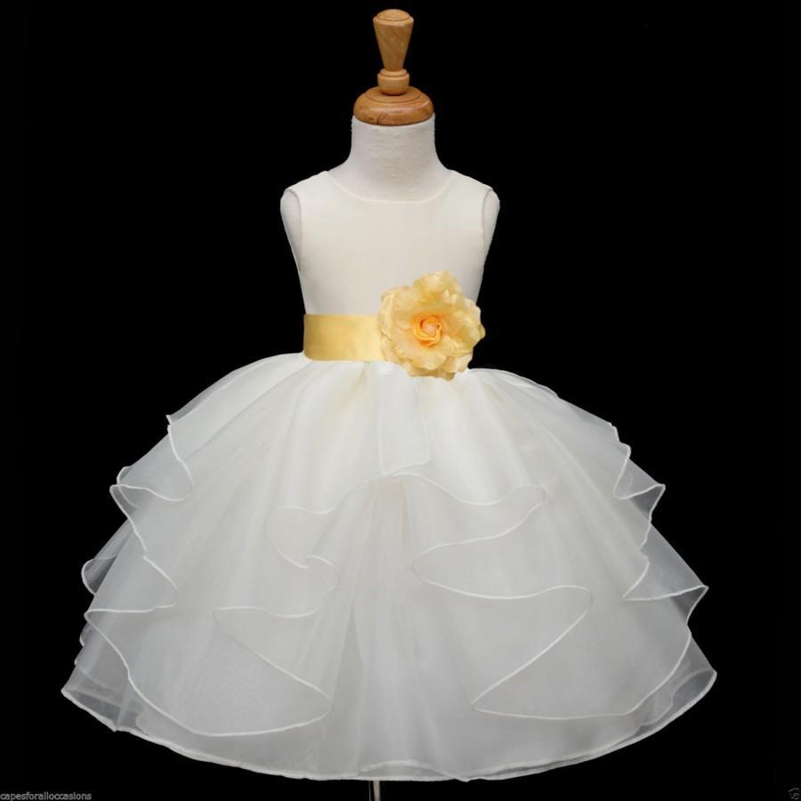 Свадьба - Ivory Organza Flower Girl Dress tiebow sash easter sash pageant wedding bridal  bridesmaid toddler 6-9m 12-18m 2 4 6 6x 8 9 10 12