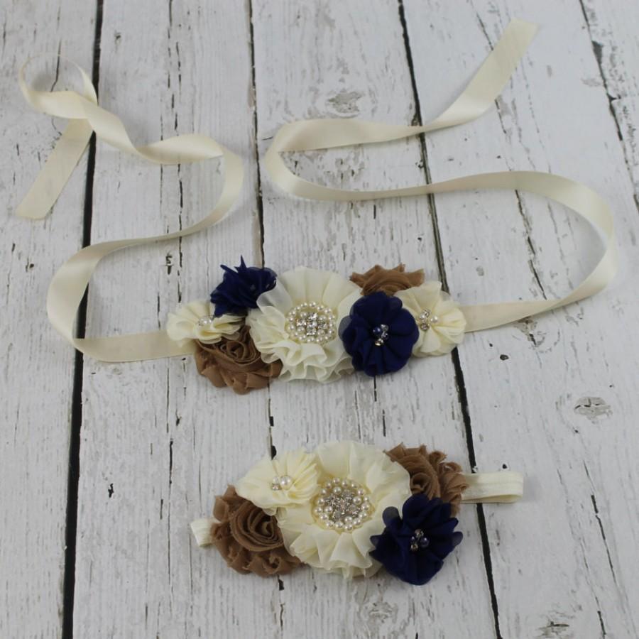 Mariage - Navy Flower Girl Sash Navy flower girl  Headband Navy Rustic Girls Dress Navy Jr Bridesmaid Sash Dress Navy Country Shabby Chic Wedding