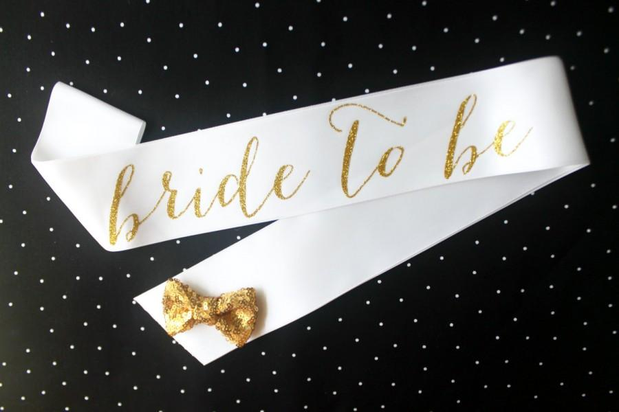 Свадьба - White & Gold Glitter Bachelorette Sash - Custom Lettered Sash - Bridal Sash