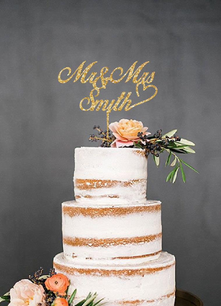 Glitter Personalized Name Cake Topper Wedding Gold Silver Rustic Birthday