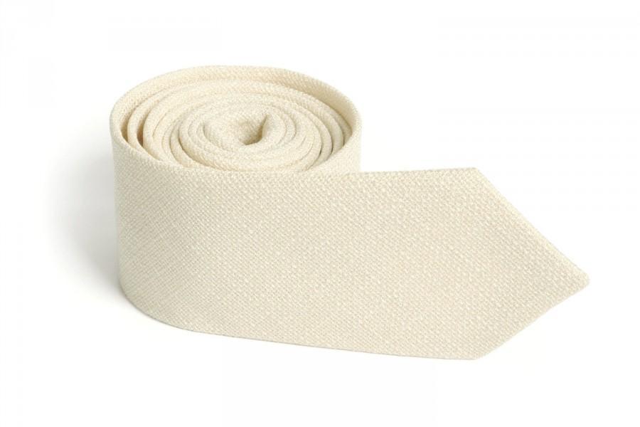Свадьба - Ivory Texture Tie / Men's skinny Ivory  tie / Wedding Ties / Necktie for Men FREE GIFT