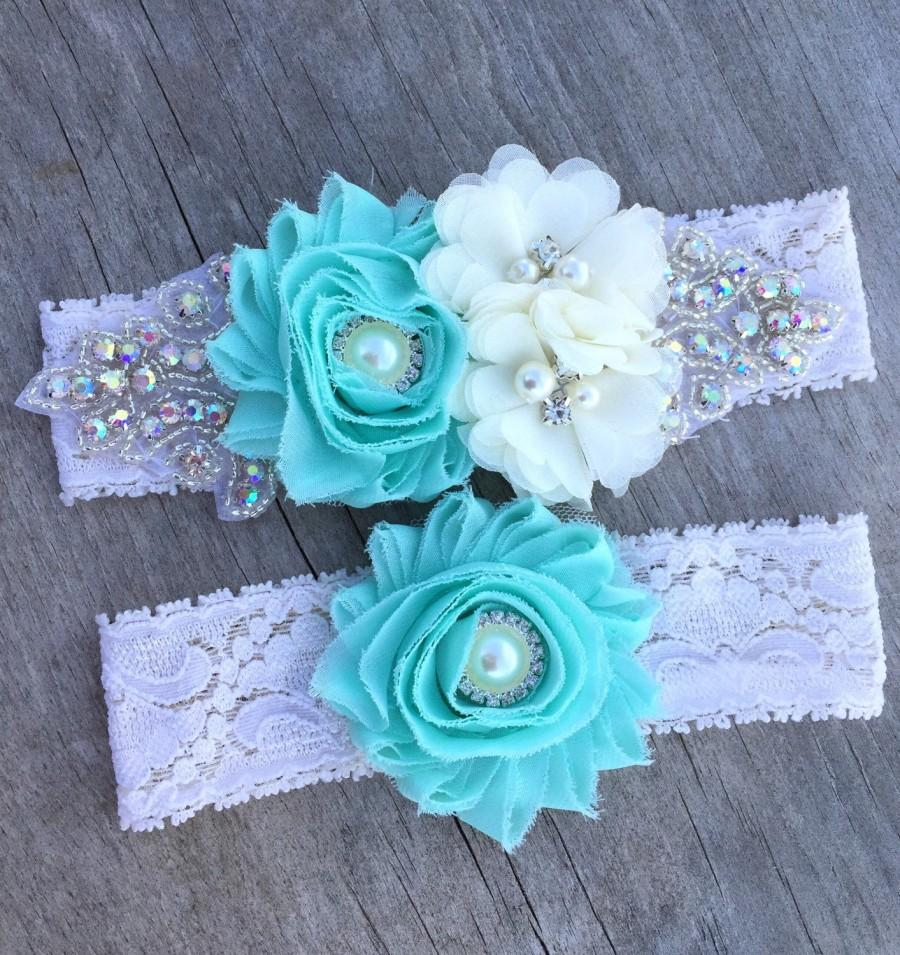 Mariage - wedding garter , rhinestone wedding garter , Mint garter , Aqua garter , Blush ANY color