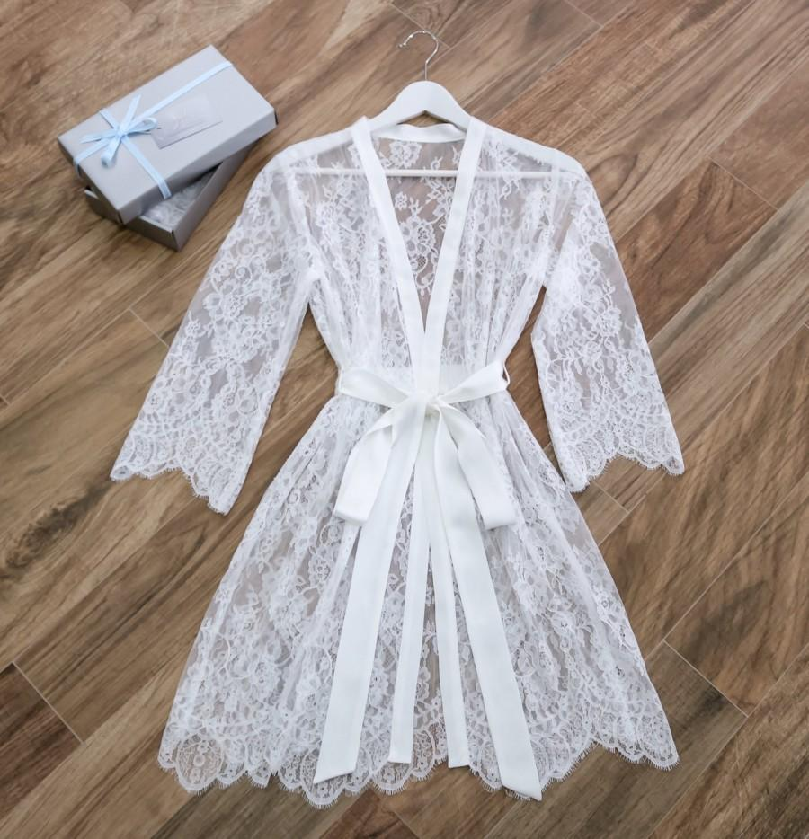 Lace Bridal Robe/ Getting Ready Robe/ Dressing Gown/ Gift For Her ...