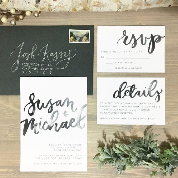 watercolor brush lettering wedding invitation set - Modern Wedding Invitations