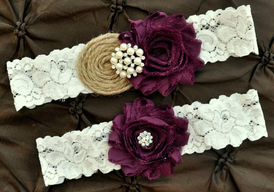 Свадьба - Burlap Rustic Wedding Garter Set, Bridal Garter Set - Rustic Garter, Country Shabby Chic, Shabby Plum Wedding Garter Belt, Burlap Garter