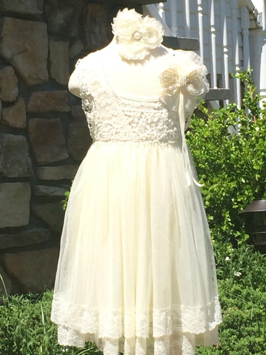 Vintage Ivory Lace Girls Dress Flower Girl Vintage Ivory Lace Girls ...