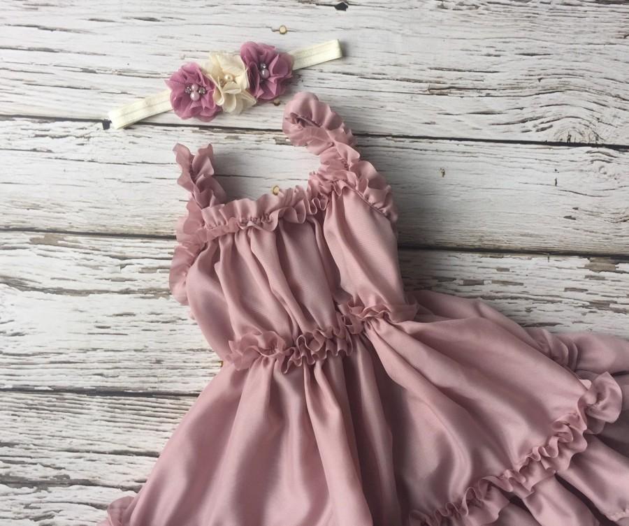 Flower Girl Dress Flower Toddler Dress Birthday Outfit Dusty Rose