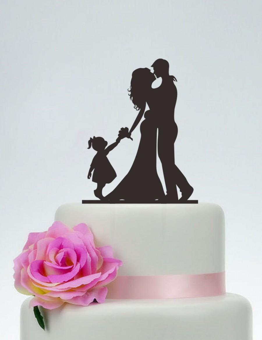 Свадьба - Wedding Cake Topper,Bride and Groom and Little Girl Cake Topper,Custom Cake Topper,Personalized Cake Topper,Cake Decoration P122