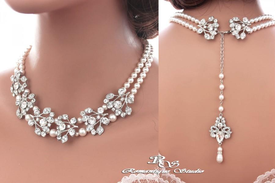 Wedding - Bridal backdrop necklace SILVER color crystal wedding necklace Swarovski pearl necklace vintage style necklace statement necklace 2177